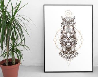 Modern Animal Tribal Totem Print - Instant Download - Tribal Nursery, Tribal Poster, Modern Animal Print, Minimal Modern Print, Wall Art