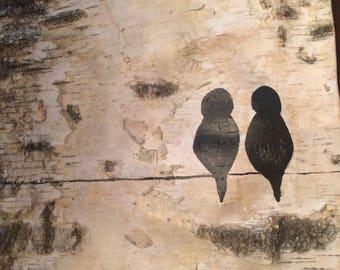 Lovebirds on birch silhouette birds birch sheet painting