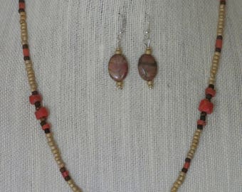 Beaded Pictured Jasper Necklace and Earring set