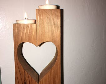 TWO tea light candles that make into a heart holder