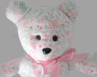 Handmade Flannel Teddy Bear- Dreamer