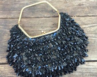 Black Beaded Evening Bag by La Regale