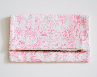 Handmade Woodlands Foldover Clutch