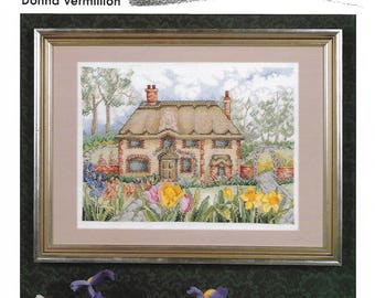 """SUDBERRY HOUSE """"Thatched Cottage"""" - Cross Stitch Pattern - English Cottage in British Isles, Springtime by Donna Vermillion - Used"""