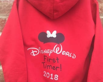 "Kids/Childs Disney Inspired ""First Timer"" Pullover Hoodie or Zipped Hoodie- Personalised By You!"