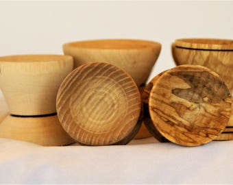 egg cups, assorted, wood