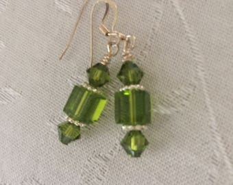 Green swarovski and glass cube earrings