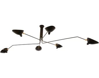 Serge Mouille Style 6 Arm Ceiling Lamp Plafonnier 6 Bras pivotants