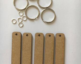Rectangle keyring key fob set 5 pack