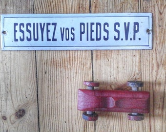 """French enamel old """"wipe your feet please"""", Vintage, France"""
