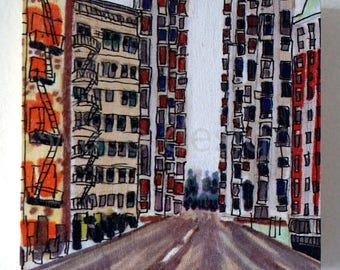"""Silent Highrise, Lowbrow, Pop Surrealism, Art, Sketchbook, Drawing, Direct UV Printing, Birch Panel, Buildings, Los Angeles, Downtown, 4""""x4"""""""
