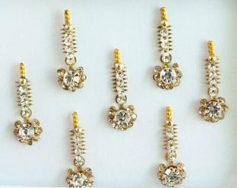 7 Gold/Silver Bright Face Jewels,Wedding Long Bindi Face Jewels,Stone Bindi,Gold Bindis,Bollywood Bindis,Bindis,Self Adhesive Stickers