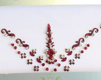 Bridal Forehead Maroon Bindi Stickers,Festival Forehead Jewels Bindis,Indian Bollywood Wedding Face jewels Stickers Bindi