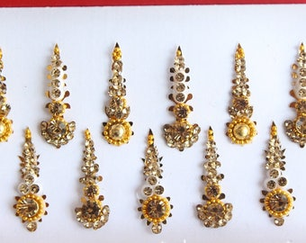 23 Gold Bridal Wedding Long Face jewels Bollywood Bindis,Bridal Bindis Stickers,Stone Bindis,Gold Bindis,Gold Bindis,Self Nail Art Sticker