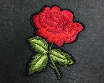 Iron on patch-Embroidery Patch-Gucci Style Patch-Patches-Rose Patch-Flower Applique-Flower Embroidery-Rose Embroidery-Gucci Inspired Patch