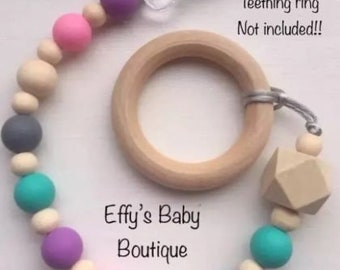 TEETHING*Wooden & Silicone*Dummy Clip*baby gift*baby shower*christening*fully chewable*various colours available*