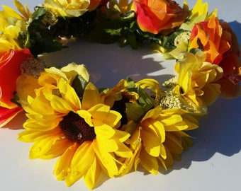 Summer Orange Flower Crown