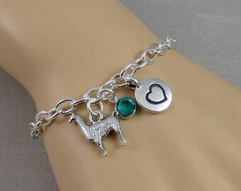 Llama Charm Bracelet, Llama Bracelet, Llama Jewelry, Personalized Initial and Birthstone Bracelet, Silver Plated Link Charm Bracelet