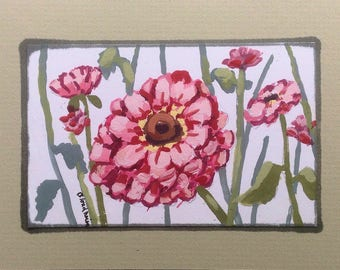 Mini Zinnias Painting Flowers Garden Plants Original Art Painting by Linda Blondheim