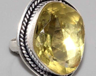 Silver and citrine ring size 53