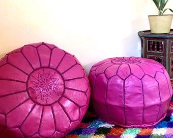 Moroccan Pouf, round pouf Moroccan leather pouf, Pouf,Set of 2  Handmade Leather poufs, Leather Ottoman, Handmade pouf ,Fushia pouf