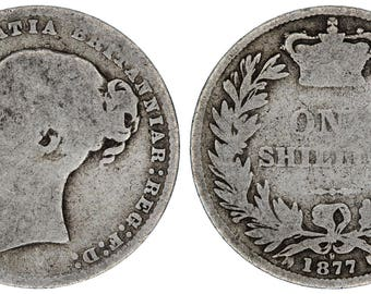 1877 Victoria silver shilling coin of Great Britain