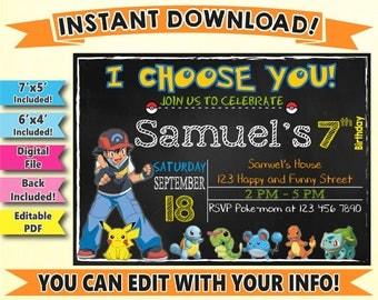 SALE, Pokemon Digital Invitation, Pokemon Go Instant Download Invitation, Pokemon Editable Invitation, Pokemon Birthday Invitation, DIY, Go
