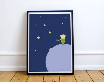 Poster Little Prince - Illustration, Computer graphics, Drawing