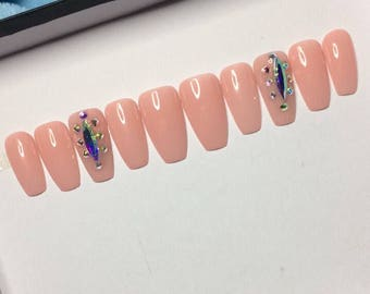 JD Designs | neutral beige pink press on nails |swarovski crystals false nails