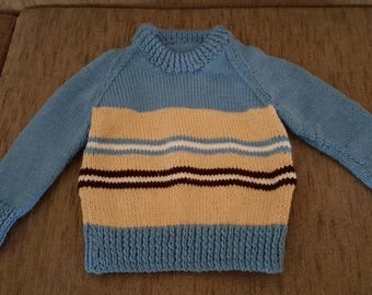 Jumper, Blue with Stripes, Children, Sweater, Hand made, Hand creafted