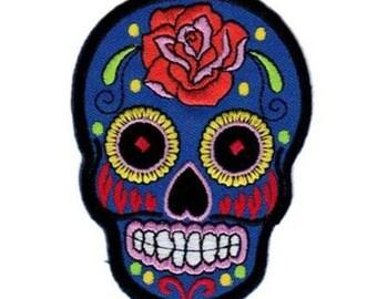 Blue Rose Skull Art Patch W.Ch.Patch