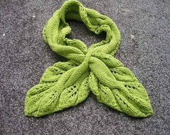 leaf scarf,knitted plants,crochet,spring autumn vintage scarves,green purple,leaves collar,ivy fascinators,woodland.--MaryDengZF