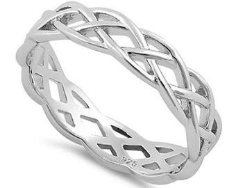 New Size 11 Sterling Silver Celtic Band