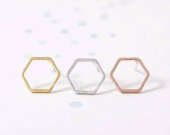 24/7 Jewelry Collection Hexagon mainland France-Open-earrings-studs earrings-brushed-Minimalist-Silver-Gold-rose gold