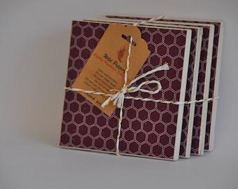 Honeycomb ceramic tile coasters