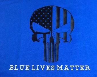 Blue lives matter punisher skull