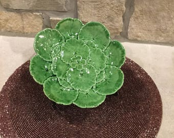 Vintage green Clover Saucer made in Portugal