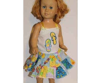 "Chatty Cathy doll not included- Beach Fun.  Handmade clothes for dolls the size of the 20"" tall vintage Chatty Cathy dolls. Skirt & Shirt"