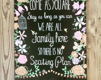 Hand painted wooden chalkboard