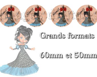 digital images 50mm and 60mm for mirrors or other print miss Paris blue.