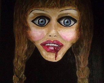 Painting of a scary or scared girl/doll entitle 'Fear'
