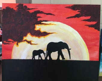 Custom Sunset Animal Silhouette 20x16 in
