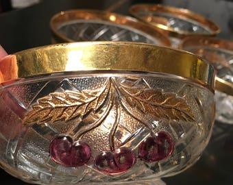 Set of 5 vintage Northwood Cherry Lattice fruit/dessert bowls