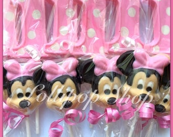 12 Minnie Mouse inspired chocolate lollipops (Birthday, Disney, Party, Minnie Mouse party favors)