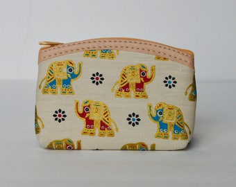 White and Gold Elephant coin purse