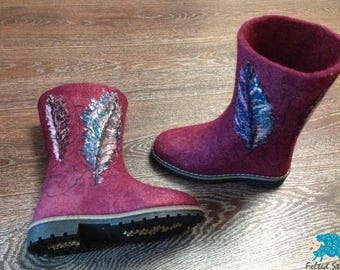 Wool boots Eco wool boots Felt boots Felted wool shoes Rubber soles Women boots Handmade shoes Feather
