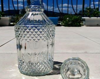 Vintage glass bottles for liquor, water, wine, Glass vase, Carafe, Decanter, Soviet table bottle, Drinks, Decorative bottles