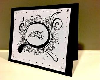 Handmade Mandala/ Zen-Tangle Birthday Card