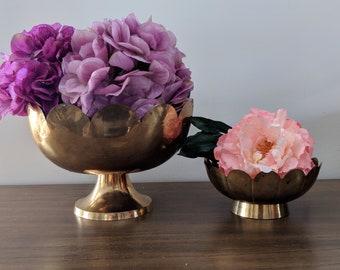 Vintage Mid Century Decoratuve Brass Scalloped Pedestal Bowls | Brass Decor | Decorative Bowls | Scalloped Bowl | Brass Centerpieces