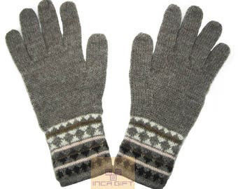 100% ALPACA - alpaca gloves handmade in Peru - Alpaca gloves for men women winter Gloves fancy beige -Peruvian Hat -Peruvian Products